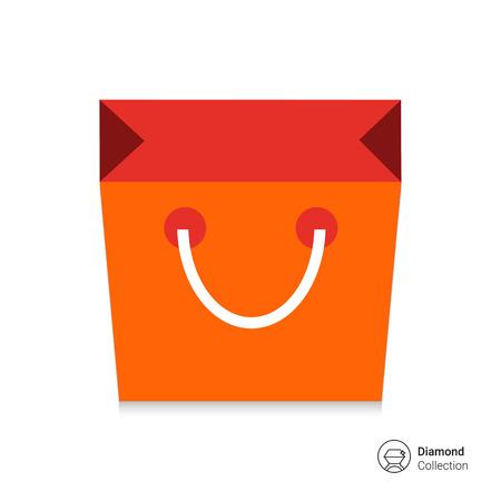 bag icon: Icon of paper shopping bag Illustration