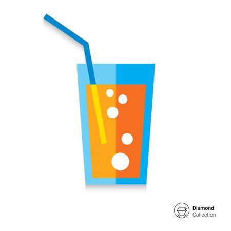 agua con gas: Icono de cristal de soda con la paja Vectores