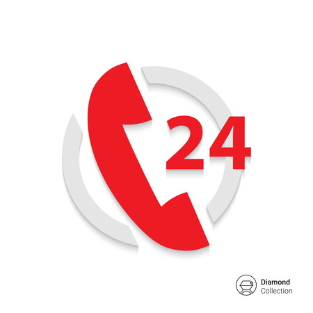 telephone operator: Icon of twenty-four hour support service with telephone receive in circle Illustration
