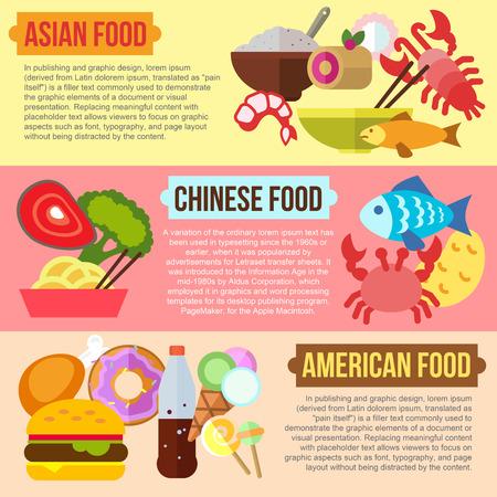 comida americana: Conjunto de conceptos de dise�o planas de comida asi�tica, china y americana en el fondo de color