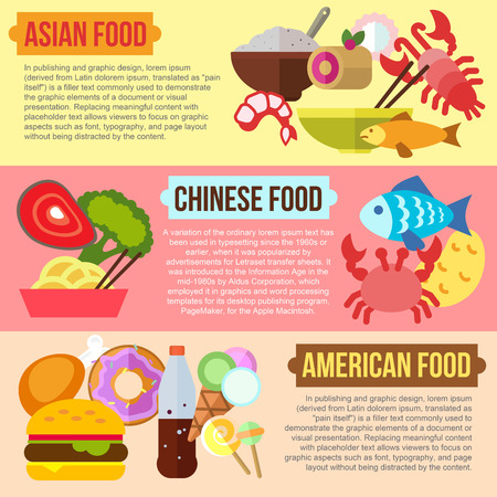 chinese american: Set of flat design concepts of Asian, Chinese and American food on colored background