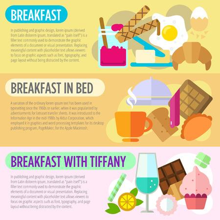 desayuno romantico: Conjunto de conceptos de diseño planas de desayuno, desayuno en la cama y el desayuno con Tiffany en el fondo de color Vectores