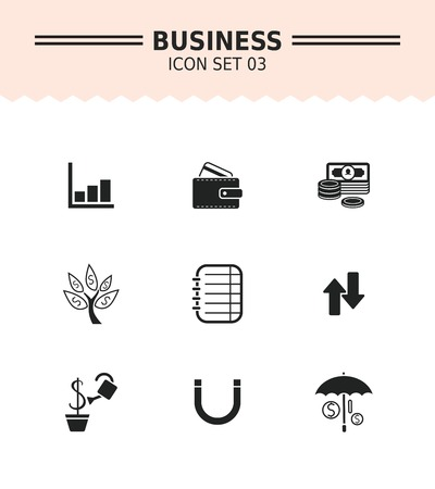 bar magnet: Set of vector icons with business concept, isolated on white