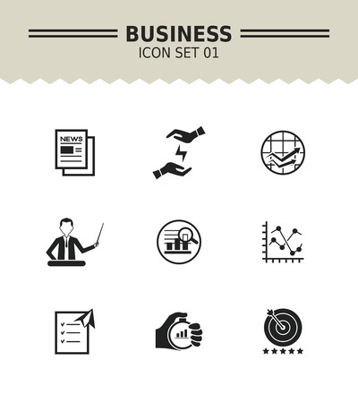 papeles oficina: Set of vector icons with business concept, isolated on white