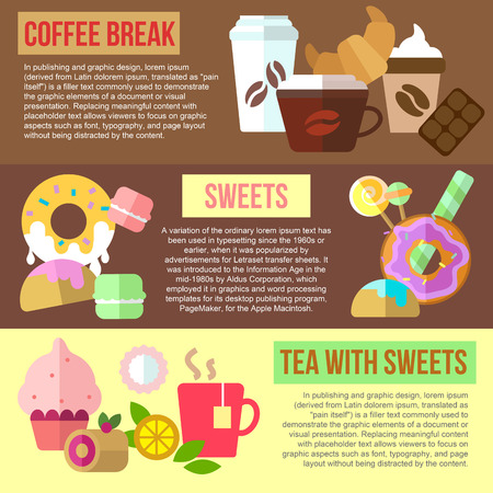 sweet tooth: Set of flat design concepts of coffee break, sweets and tea with sweets on colored background