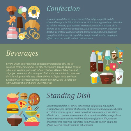 confection: Set of flat design concepts of confection, beverages, standing dishes on colored background