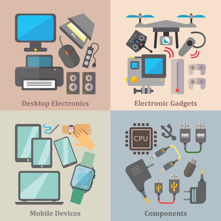 hdmi: Set of flat design concepts of desktop electronics, gadgets, mobile devices and components on colored background