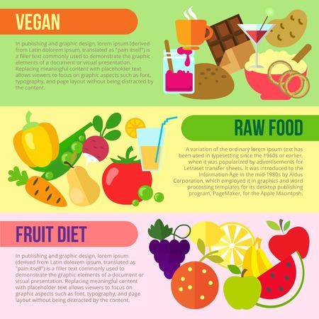 rindfleisch roh: Set flache Design-Konzepte von vegan, roh und Obst-Di�ten auf farbigem Hintergrund