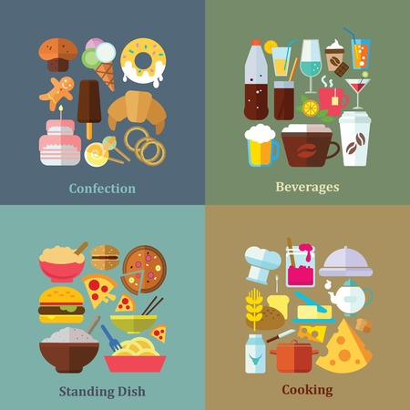 cup cakes: Set of flat design concepts of confection, beverages, standing dishes and cooking on colored background