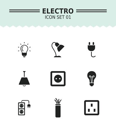 cabling: Set of vector icons with electricity and lighting concepts, isolated on white
