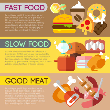 slow food: Set of flat design concepts of fast and slow food, good meat on colored background Illustration