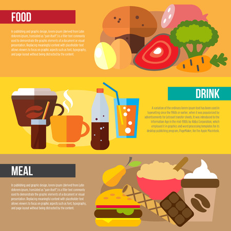 buffet: Set of flat design concepts of food, drink and meal on colored background