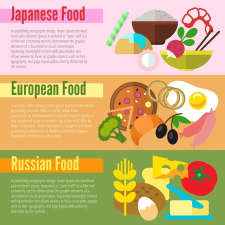 russian food: Set of flat design concepts of national food, including Japanese, European and Russian on colored background
