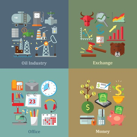 money market: Set of flat design concepts of oil industry, exchange, office and money on colored background