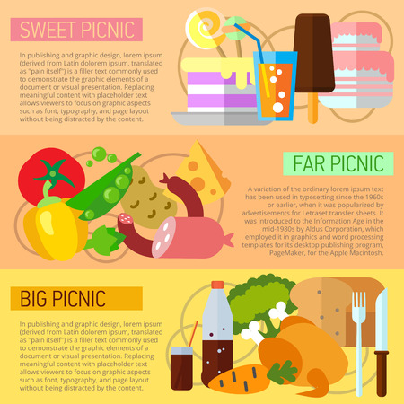 far: Set of flat design concepts of picnic types, including sweet, far, big one on colored background