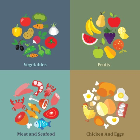 chicken meat: Set of flat design concepts of fruit, vegetable, meat and seafood, chicken and eggs on colored background