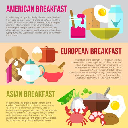 menu background: Set of flat design concepts of American, European and Asian breakfast on colored background