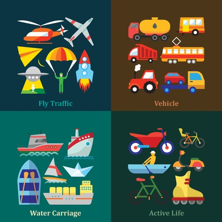 roller blade: Set of flat design concepts of various transport use, including transportation by air, by water, wheeled vehicle use and sport activities on colored background