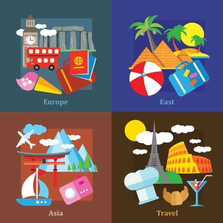destinations: Set of flat design concepts of travelling and destinations, including Europe, Asia, East on colored background
