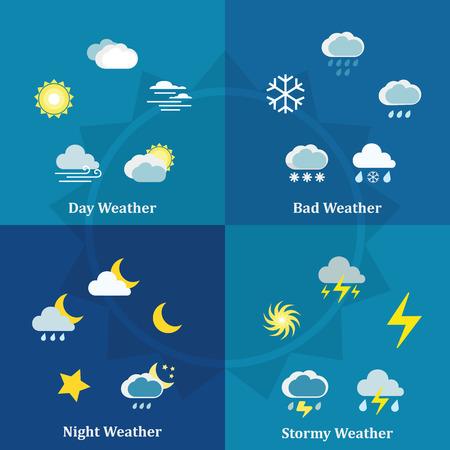 estado del tiempo: Conjunto de conceptos de diseño planos de día, noche, tipos de mal tiempo y de tormenta en el fondo de color Vectores