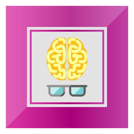 의식: Icon of brain with glasses 일러스트
