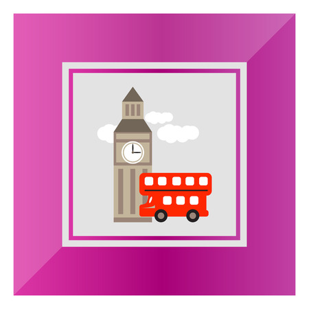 double decker bus: Icon of Big ben and red double decker bus