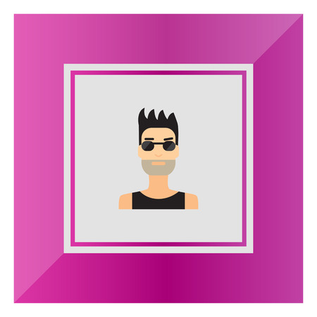 bristle: Male character icon, portrait of young man with bristle wearing sunglasses