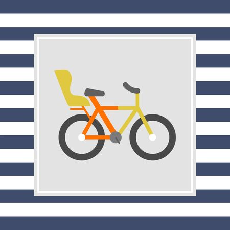 child seat: Icon of bicycle with child seat Stock Photo