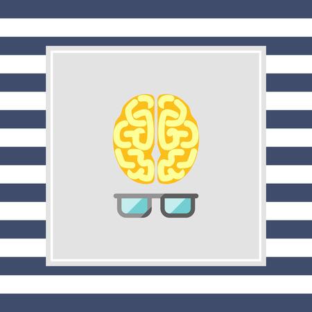 brainy: Icon of brain with glasses Stock Photo
