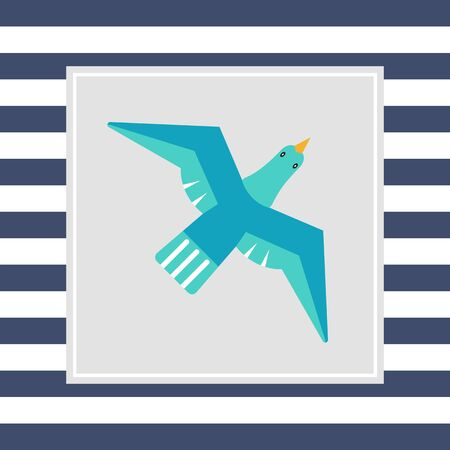 tweeting: Icon of flying blue bird Stock Photo