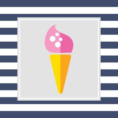 waffle cone: Icon of pink ice cream in waffle cone Stock Photo