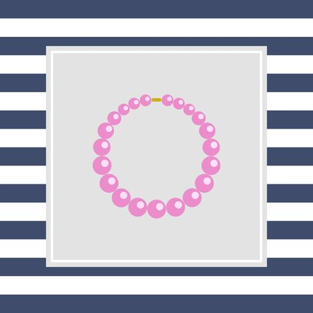 beads: Icon of necklace made of pink beads Stock Photo