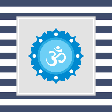 om sign: Icon of om sign on background with floral elements Stock Photo