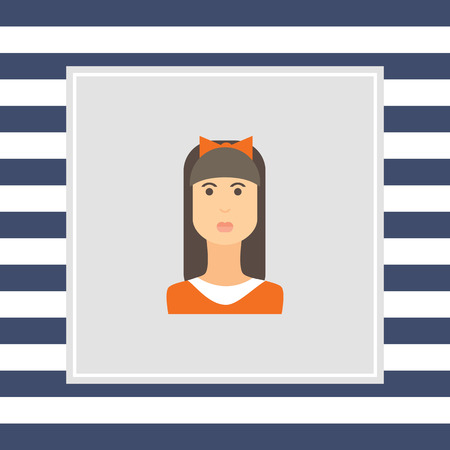 fringe: Female character icon, portrait of teenage girl with long hair, fringe and bow on head Stock Photo