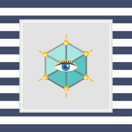 ojo humano: Icono del ojo humano en hexagonal Foto de archivo