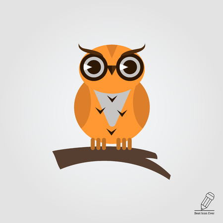 tree branch: Icon of owl sitting on tree branch