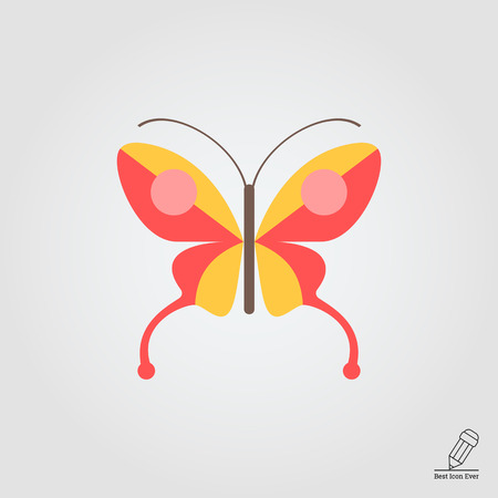 arthropods: Red butterfly icon Illustration