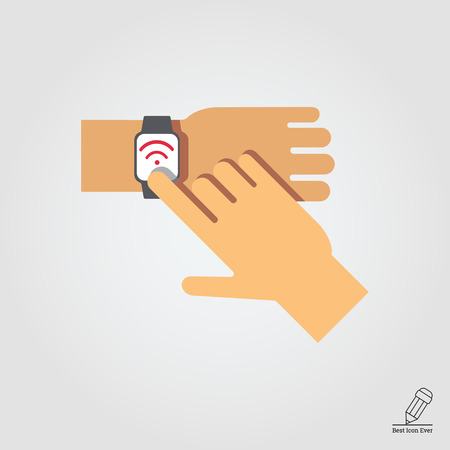 touching: Icon of mans hand touching smartwatch display