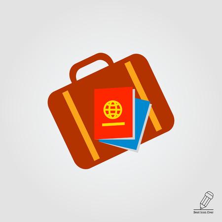 valigia: Icona della valigia di viaggio e passaporti