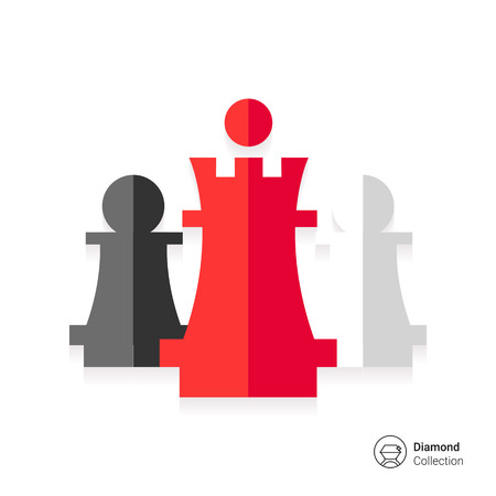 chess king: Icon of chess king and pawns