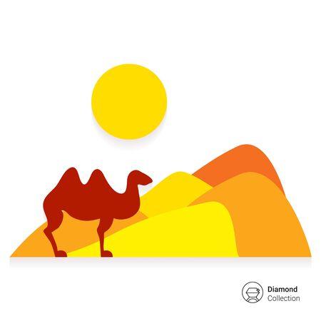 desert sun: Icon of desert landscape with sand hills, sun and camel Illustration