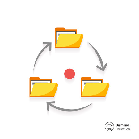 signing document: Icon of folders with documents arranged in circle with arrows