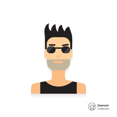 Male character icon, portrait of young man with bristle wearing sunglasses