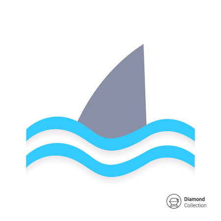 single fin: Icon of swimming shark fin above water Illustration