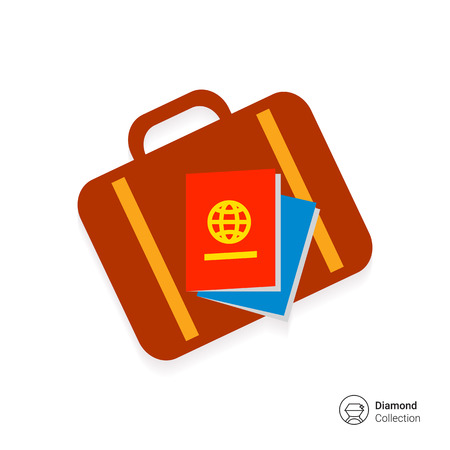 Icon of travel suitcase and passports