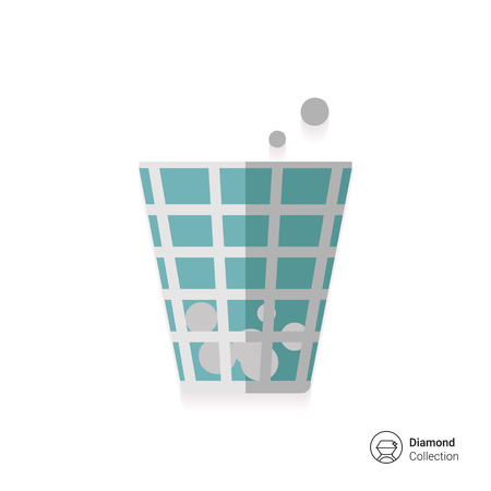 crumpled paper ball: Icon of wastepaper bin with crumpled paper  balls Illustration