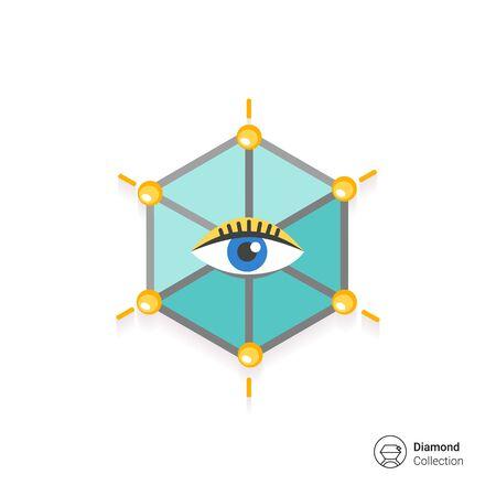 ojo humano: Icono del ojo humano en hexagonal Vectores