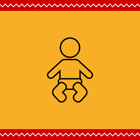 diaper: Icon of baby silhouette wearing diaper