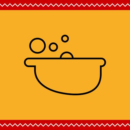 bath tub: Icon of bath tub with foam and bubbles Illustration