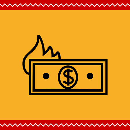 burning money: Icon of banknote with dollar sign and flame silhouette